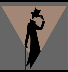 silhouette vintage man in tuxedo and cylinder vector image