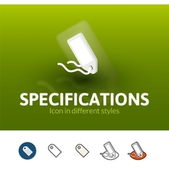 Specifications icon in different style vector