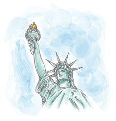statue liberty on watercolor sky vector image