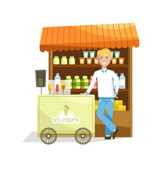 street counter and trolley with delicious ice vector image