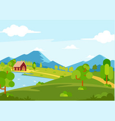 Sunny spring season landscape view vector