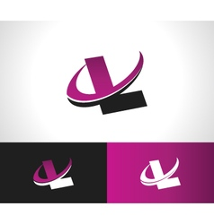Swoosh alphabet icon l vector