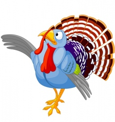 thanksgiving cartoon turkey presenting vector image