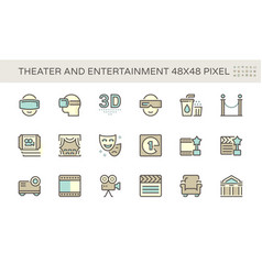 theater and entertainment icon set design 48x48 vector image