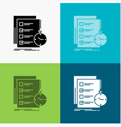Todo task list check time icon over various vector