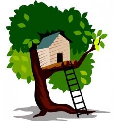 tree hut vector image vector image