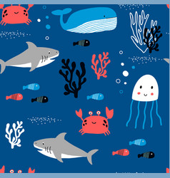 underwater animals seamless pattern print design vector image