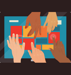 Users hands touch gestures technology internet vector
