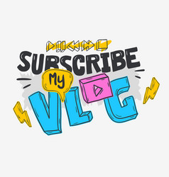 Vlog video blog social media cartoon style design vector