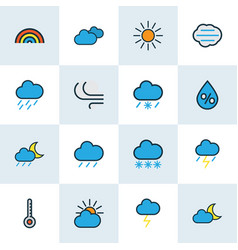 weather icons colored line set with degree vector image