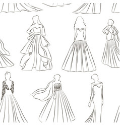 Wedding dress set pattern vector