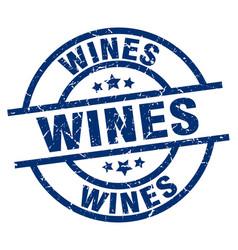 Wines blue round grunge stamp vector
