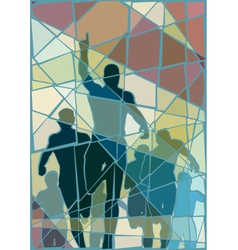 Winning runner mosaic vector
