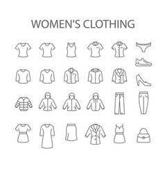 womens clothing icons - set woman garments vector image