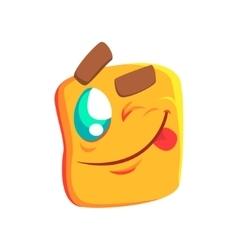 Yellow winking emoji cartoon square funny vector