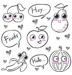 Fruit hand draw style doodles vector