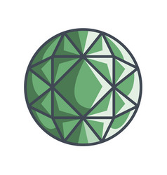 Round brilliant gemstone in a flat style vector