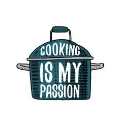 saucepan or utensils stuff for menu decoration vector image