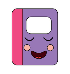 Notebook happy school supplies kawaii icon ima vector