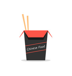 red and black box with chinese food vector image vector image
