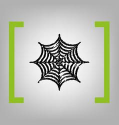 spider on web black scribble vector image vector image