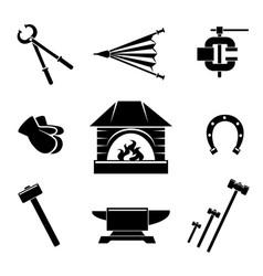 Blacksmith icons vector image vector image