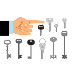 hand hold key and keys collection vector image vector image