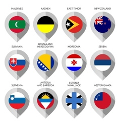 Marker from paper with flag for map - set twelfth vector image vector image