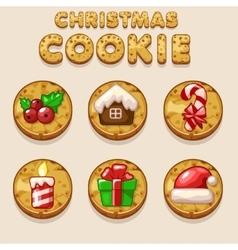 Set Cartoon Christmas cookies biskvit food icons vector image