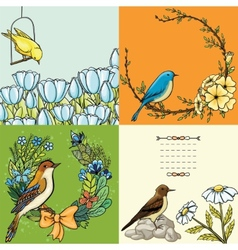 Set of floral backgrounds with birds vector image vector image