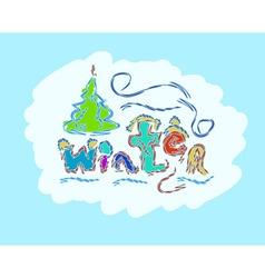 winter text hand drawn creative seasonal card vector image vector image