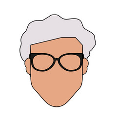 colorful silhouette front view faceless old man vector image vector image