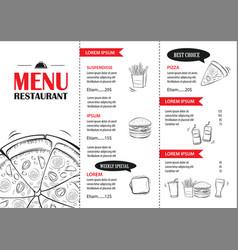 Fast food menu design template restaurant or cafe vector
