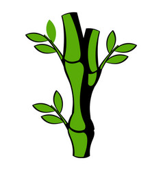 green bamboo stem icon icon cartoon vector image