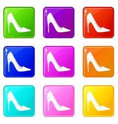 high heel shoe icons 9 set vector image