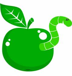 symbol apple with worm vector image vector image