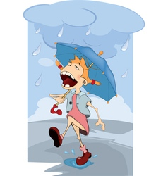 The girl in the rain Cartoon vector image