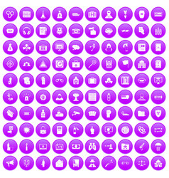 100 crime icons set purple vector