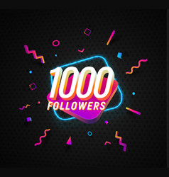 1000 followers celebration in social media vector