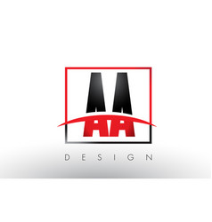 Aa a logo letters with red and black colors and vector