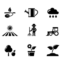 agriculture black icons set vector image