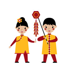 asian kids playing with firecrackers vector image