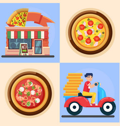 ast delivery man and pizza colorful vector image