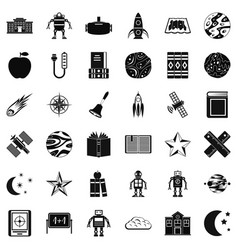 Astronomy book icons set simple style vector