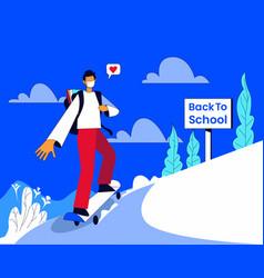 Back to school boy riding skateboard vector