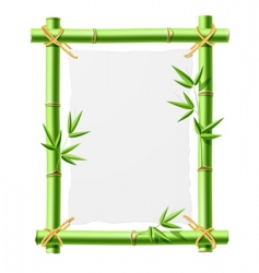 Bamboo frame with blank paper vector