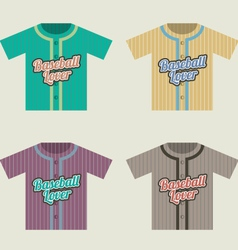 Baseball Shirt Set Vintage Style vector