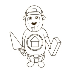 Beaver builder coloring book vector image