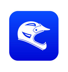 Bicycle helmet icon digital blue vector