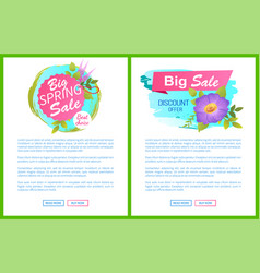 Big spring sale discounts offer posters set flower vector